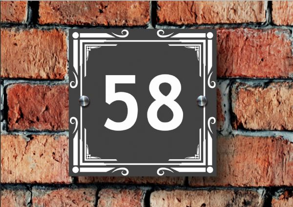Acrylic House Number Sign With Geometric Design (GEO1A)